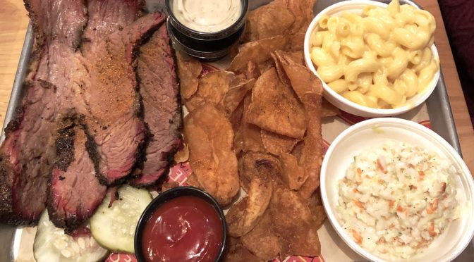Joe's Older Than Dirt's brisket platter with slaw, mac-and-cheese, and house-made chips.