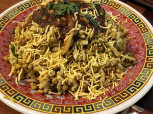 Bombay Bhel Puri, a crunchy, spicy snack that reminded me of fiery trail mix, at Bombay Grill.