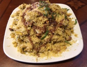 Louisville Cafe India's dahi bhel chaat, a crunchy, sweet and savory Indian street-food snack.