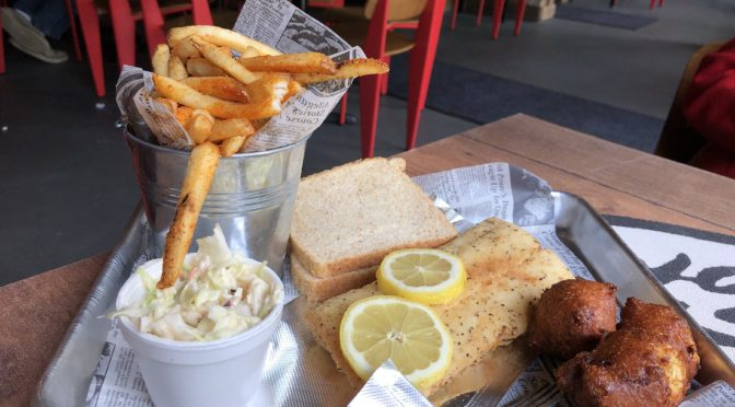 The Hooked on Frankfort fish plate features a 10-ounce cod fillet plus excellent spicy fries, cole slaw, a couple of hush puppies, and white or rye bread.