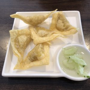 Fried curry puffs at Simply Thai are loaded with curried chicken, potatoes and onions.