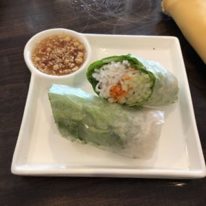 Spring rolls wrapped in translucent rice paper at Simply Thai.