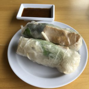 Vietnamese-style spring rolls wrapped in translucent rice paper at Pho Phi.