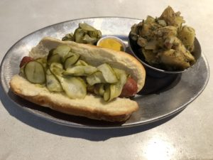 The Hall on Washington's all-beef classic frankfurter is finely ground and flavorful.