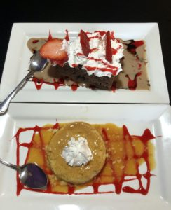 Two delicious desserts at Las Margaritas: Tres leches chocolate cake (above) and corn flan.