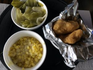 More sides at Shirley Mae's: Cabbage, butter-fried corn, and hot-water cornbread.