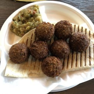The Charcoal Restaurant's falafels are as good as I ever ate; with sides of baba ganoush and grilled tandoori bread.