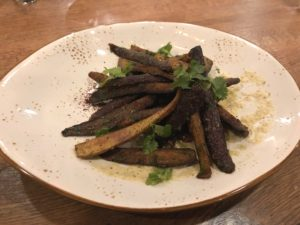 Roasted heirloom carrots on grilled jalapeño hollandaise at Hearth.