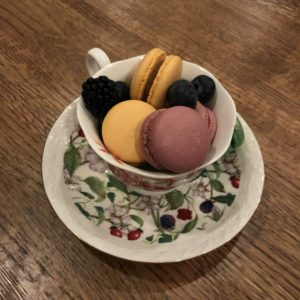 Assorted macarons and berries at Hearth.