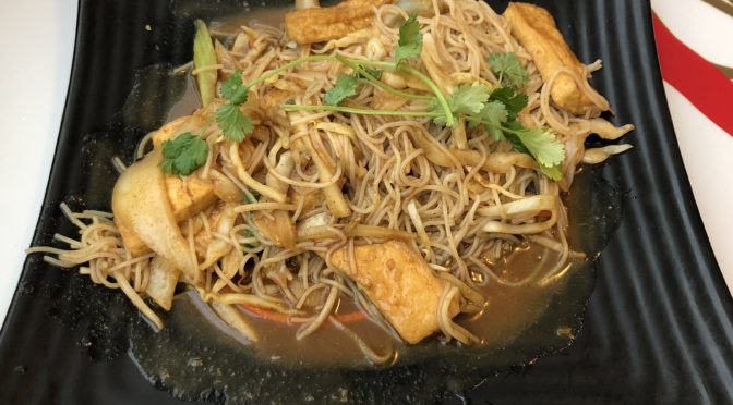 NamNam's spicy signature dish, Saigon Noodles, adds yellow curry fire to Asian veggies, rice noodles, and your choice of organic chicken, grass-fed beef, or tofu.