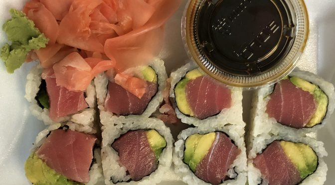 Like all the maki rolls at ToGo Sushi, the basic tuna roll is oversize and packed full.