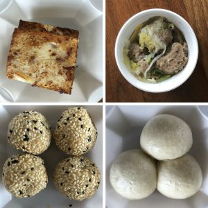 Four dim sum favorites at Jade Palace: Clockwise from upper right, turnip cake, beef balls, lotus-paste buns, and sweet red-bean sesame balls.