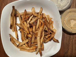 Long, thin hand-cut fries come close to Belgian frites in style and taste. Two more thumbs up.