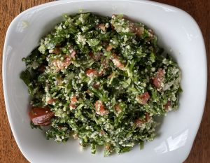 Alwatan's tabouli is a beautifully proportioned mix of fresh, green parsley with fruity olive oil, lemon, and bulghur wheat.