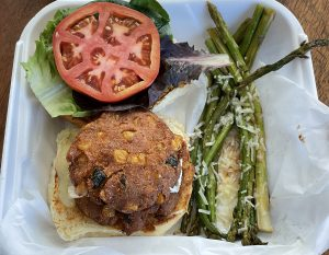 My favorite of Game's three veggie burgers, this house-made specialty features garbanzo patties akin to falafels, studded with bits of poblano pepper and corn kernels.