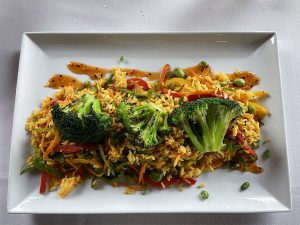 Veggie chaufa with edamames, a spicy, flavorful Peruvian take on fried rice brought in by Chinese immigrants, was Seviche's appealing vegetarian entree for the day.