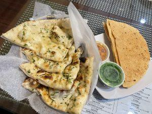Garlic naan and pappadums