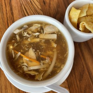Hot and sour soup is loaded with ingredients and touched with gentle heat.