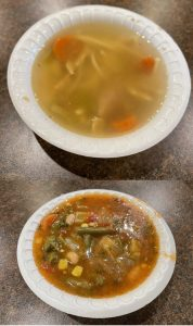 Chicken noodle (top) and vegetarian vegetable soups.