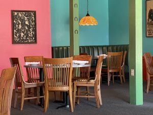 The bright colors in La Suerte's dining rooms set a happy South-of-the-Border mood.
