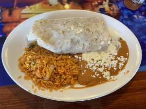 You won't find a meatless option on El Mariachi's menu any more, but upon request they gladly crafted a delicious veggie-and-cheese model with plenty of perfect Mexican rice and beans.