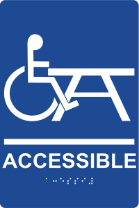 Compliance Signs, a major maker of regulatory-compliant safety signs and labels and parking signs, tells the ADA story with this accessible table marker.