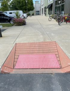 Westport Village's curb ramps are right up to code too, with no unexpected bumps or lips, and a bumpy surface to make it stand out to blind pedestrians using canes, too.