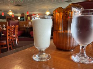Bombay Grill's lassi, an Indian yogurt drink, is thick and rich, with a distinct scent of cumin.