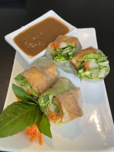 """Spring rolls (""""rollz"""" on the Eatz menu) come with your choice of shrimp and pork or tofu rolled in translucent rice paper."""