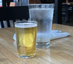 A glass of Hauck's American Pilsner at Monnik.