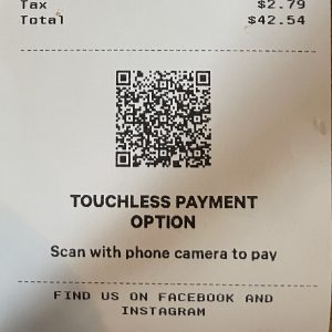 Like many other local eateries, Pints & Union still uses QR codes for no-touch menus and (pictured) paying your bill.