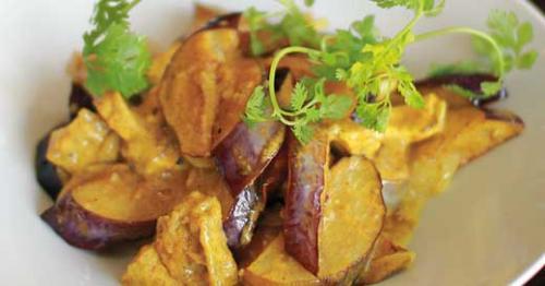 eggplant slices and cilantro