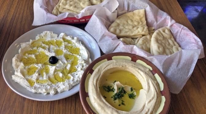 Appetizers at Aladdin's: Silken labneh yogurt cheese and an intense, creamy hummus.