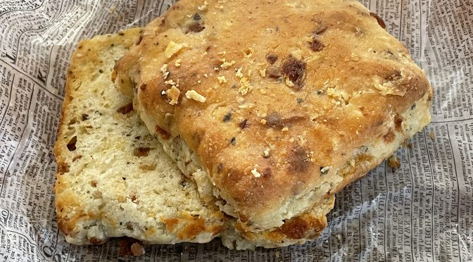 Cheddar and herbs are baked into this specialty biscuit at Boujie Biscuit.